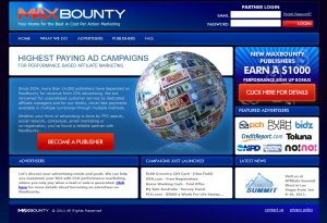 MaxBounty.com Full-size home page image