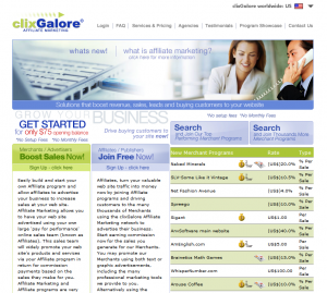 ClixGalore home page full-size image