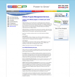 Seop full-size Affiliate Management page image.