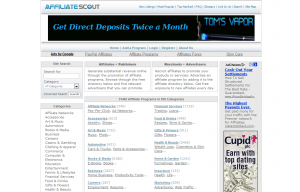 AffiliateScout.com full-size home page image.