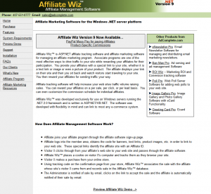 affiliatewiz.com full-size home page image