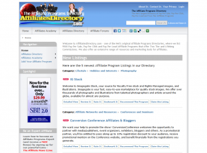 affiliatesdirectory.com full-size home page image