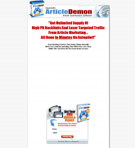 ArticleDemon.com Article Submission Software full-size home page image
