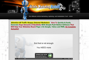 ArticleMarketingRobot.com Article Submission Software full-size home page image