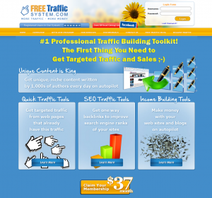 FreeTrafficSystem.com Link Buidling and Article Distribution Network home page full-size image