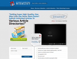 ImWishList.com Article Submitter Software full-size home page image