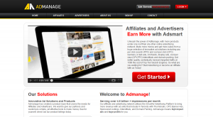 Admanage.com Pop Up and Intersitial Ad Serving Network home page full-size image