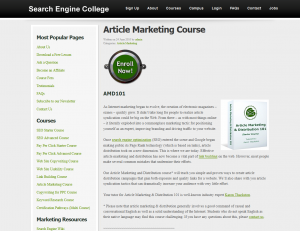 SearchEngineCollge.com Article Marketing course page full-size image