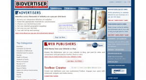 Bidvertiser.com PPC Ad Serving Network home page full-size image