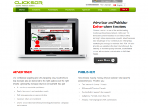 Clicksor.com Contextual Ad Network home page full-size image