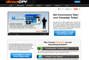 DirectCPV.com CPV Ad Serving Network home page full-size image