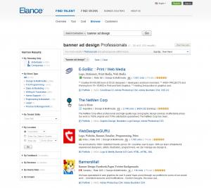 Elance.com banner ad design freelancer page full-size image