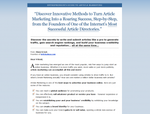 ArticlesMarketing.com Article Marketing ebook home page full-size image