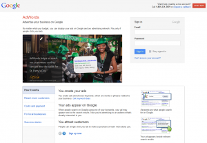 Adwords.Google.com PPC Ad Serving Network home page full-size image