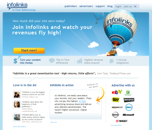 InfoLinks.com In-Text Ad Serving Network home page full-size image
