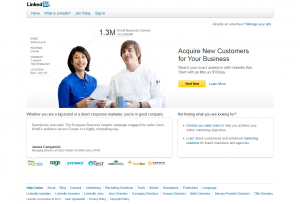 Linkedin.com/Advertising PPC Ad Network home page full-size image