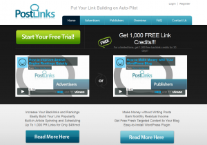 PostLinks.com Article Distribution Network home page full-size image