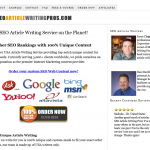 SEOarticlewritingpros.com Article writing service home page full-size image