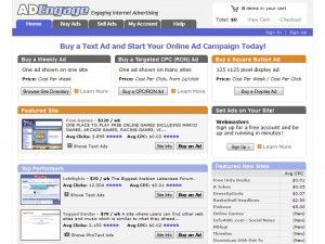 Adengage.com PPC ad network full-size home page image