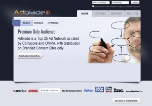 Adblade.com Banner Ad Serving Networks home page full size image