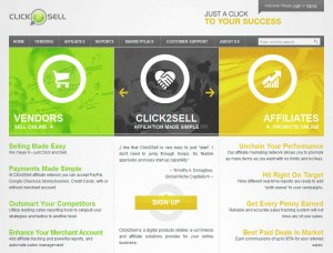 Click2sell.eu Affiliate Marketing Networks home page full size image