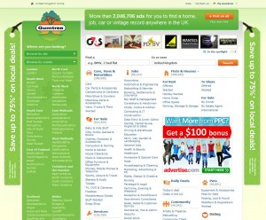 Gumtree.com Top Classified Ad Site home page full size image