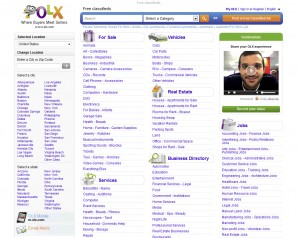OLX.com Top Classified Ad Site home page full size image