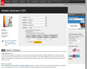 Adobe Illustrator CS5 order page full-size image