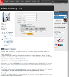 Adobe Photoshop CS5 order page full size image