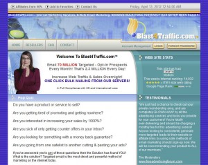Blast4Traffic.com Direct Email Marketing home page full size image
