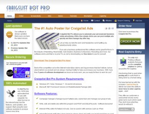 CLBotPro.net Classified Ad Posting Software home page full size image