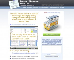 Directorysubmitter.com.imwishlist.com Directory Submission Software home page full size image