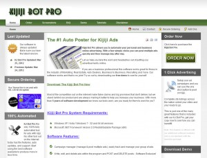 KjBotPro.com Classified Ad Posting Software home page full size image