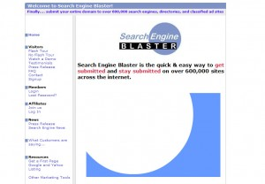 SearchEngineBlaster.com Directory Submission Software home page full size image