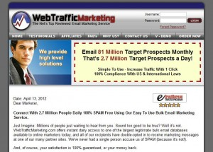 WebTrafficMarketing.com Direct Email Marketing home page full size image