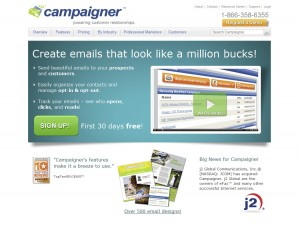 Campaigner.com Email Newsletter Softwarehome page full size image