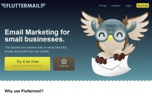 Fluttermail.com Email Newsletter Softwarehome page full size image