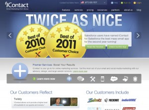 iContact.com Email Newsletter Software home page full size image
