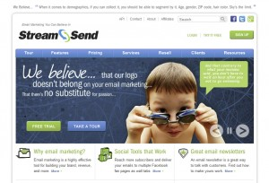 StreamSend.com Email Newsletter Softwarehome page full size image
