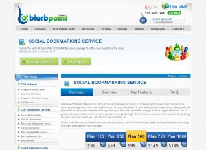 Blurbpoint.com Social Bookmarking Service page full size image