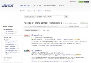 Elance.com Fan Page Management Service home page full size image