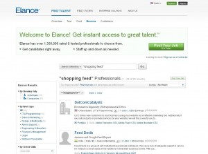 Elance.com Feed Management Service page full size image