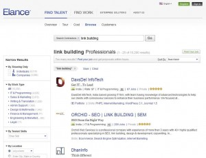 Elance.com Link Building Service home page full size image
