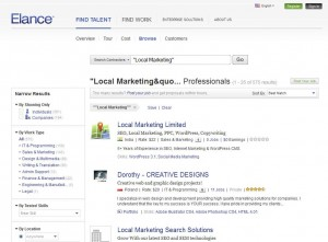 Elance.com Local Online Marketing Service home page full size image