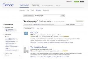 Elance.com SEM Landing Page Design home page full size image
