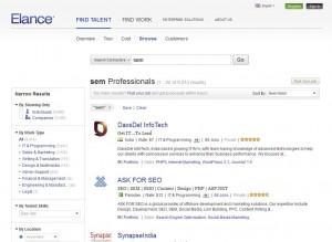 Elance SEM Management Service home page full size image
