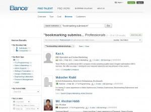 Elance.com Social Bookmarking Service page full size image