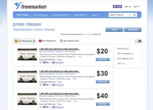 Freelancer.com Full Service Press Release home page full size image