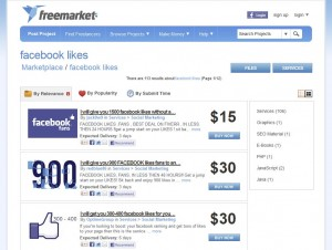 Freelancer.com Buying FB Likes or Fans home page full size image