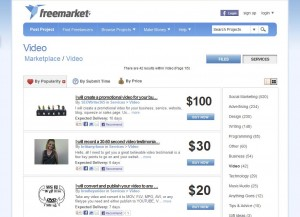 Freemarket.com Video Ad Production Service page full size image